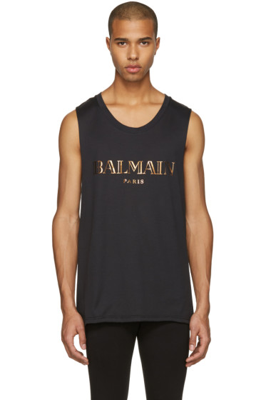 Balmain - Blacl Logo Muscle T-Shirt