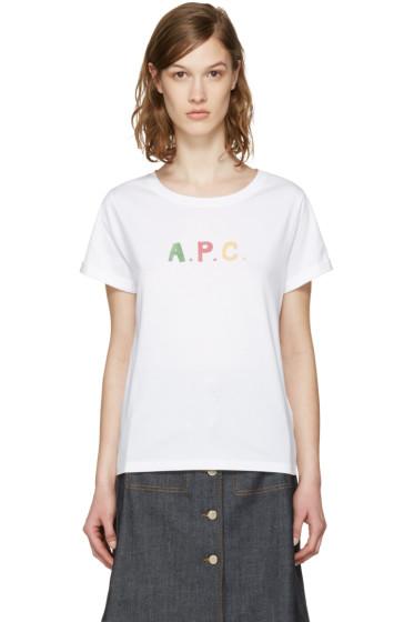 A.P.C. - ホワイト ロゴ クルール T シャツ