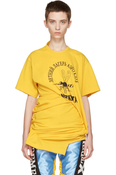 Junya Watanabe - Yellow Ruched Side T-Shirt