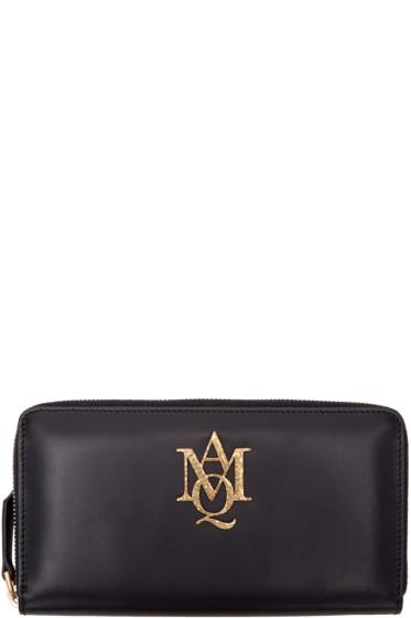 Alexander McQueen - Black Insignia Zip Around Wallet