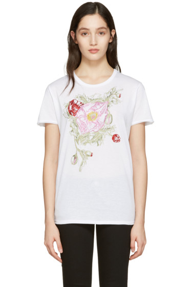 Alexander McQueen - White Embroidered Floral T-Shirt