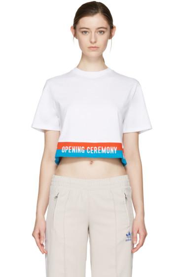 Opening Ceremony - ホワイト クロップド エラスティック ロゴ T シャツ