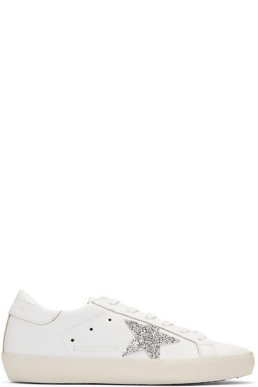 Golden Goose - White Swarovski Crystal Superstar Sneakers