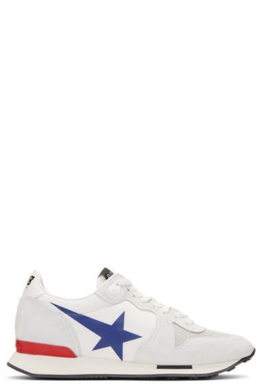 Golden Goose - White Blue Star Running Sneakers