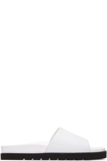 Giuseppe Zanotti - White Leather Slide Sandals