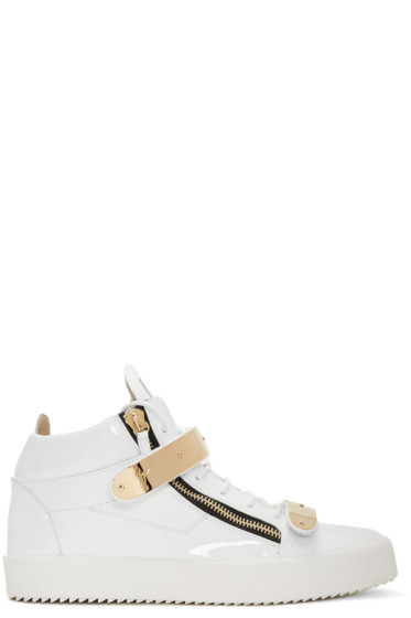 Giuseppe Zanotti - White Patent London High-Top Sneakers