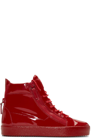Giuseppe Zanotti - Red Patent London High-Top Sneakers
