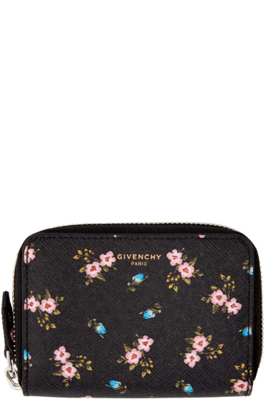 Givenchy - Black Mini Zip Hibiscus Wallet