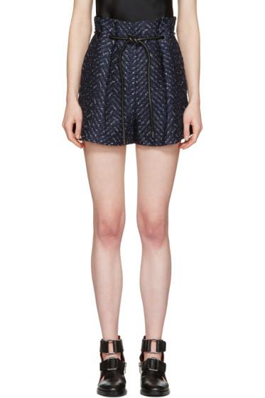 3.1 Phillip Lim - Navy Tailored Pleated Chevron Shorts