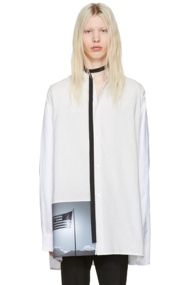 Raf Simons - White Robert Mapplethorpe Edition Oversized Neck Strap American Flag Shirt