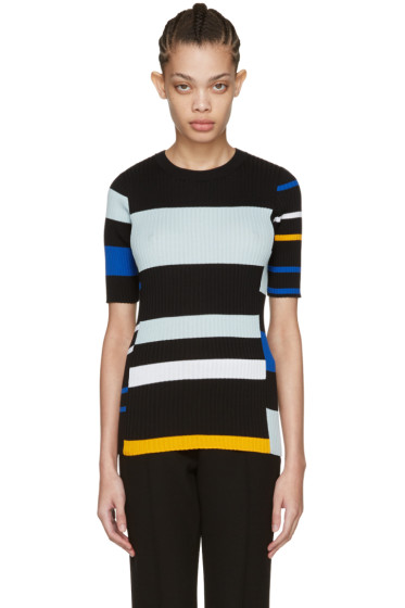 Proenza Schouler - Black Striped Short Sleeve Pullover