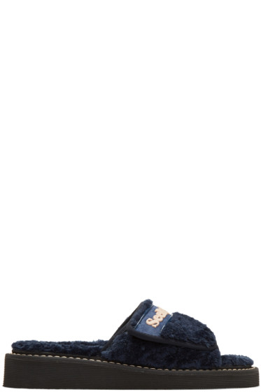 See by Chloé - Navy Furry Slide Sandals
