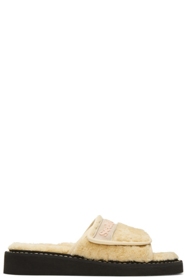 See by Chloé - Beige Furry Slide Sandals