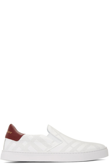 Burberry - White Copford Check Slip-On Sneakers