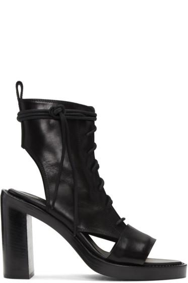 Ann Demeulemeester - Black Leather Boot Sandals