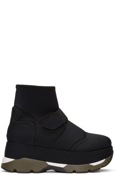 Marni - Black Velcro Platform High-Top Sneakers