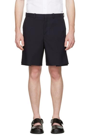 Marni - Navy Pleated Velcro Shorts
