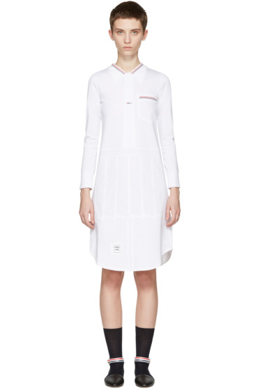 Thom Browne - ホワイト トロンプ ルイユ シャツ ドレス