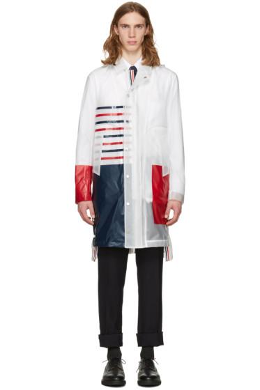 Thom Browne - Transparent Stripe Rain Coat