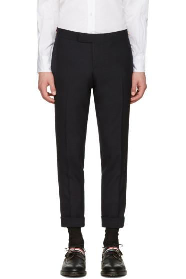 Thom Browne - Navy Low-Rise Skinny Side Tab Trousers