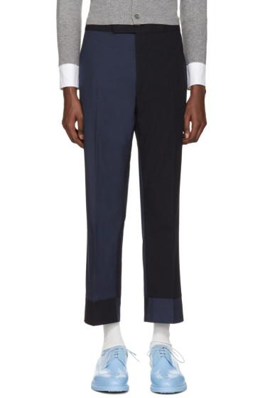 Thom Browne - Navy Classic Funmix Trompe l'Oeil Backstrap Trousers