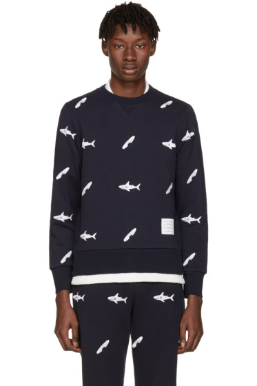 Thom Browne - Navy Shark & Surfboard Pullover