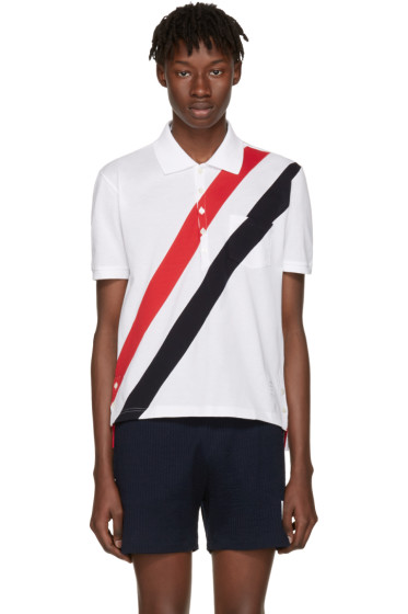 Thom Browne - White Stripes Pocket Polo