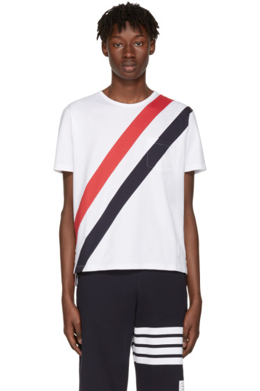 Thom Browne - White Stripes Pocket T-Shirt