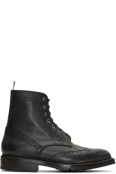 Thom Browne - ブラック ウィングチップ ブーツ