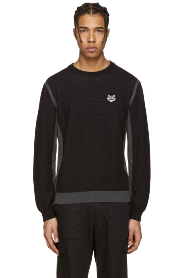 Kenzo - Black Embroidered Waffle Knit Pullover