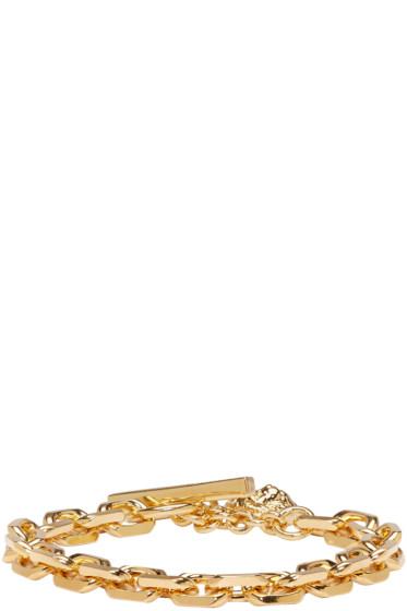 Versus - Gold Heavy Lion Medallion Bracelet