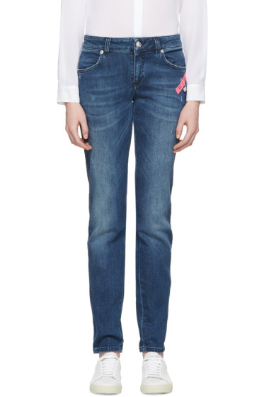 Versus - Indigo Pin & Patch Jeans