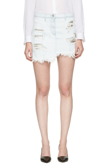 Versus - Blue Distressed Denim Skirt