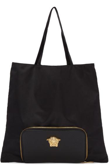 Versace - Black Convertible Nylon Tote