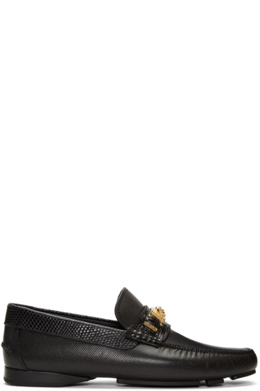 Versace - Black Lizard-Embossed Medusa Loafers