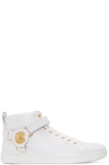 Versace - White Harness High-Top Sneakers
