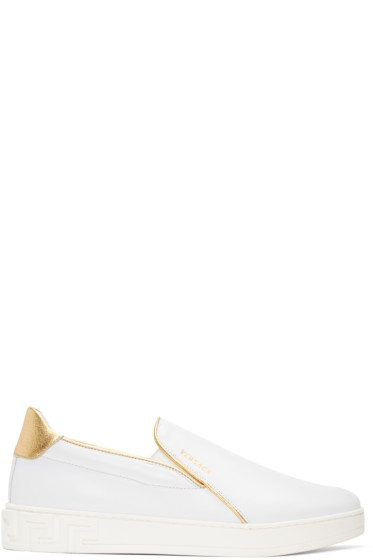 Versace - White & Gold Slip-On Sneakers