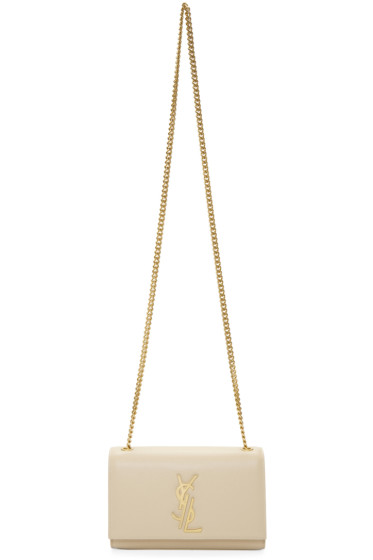 Saint Laurent - Beige Small Deconstructed Monogram Kate Chain Wallet Bag