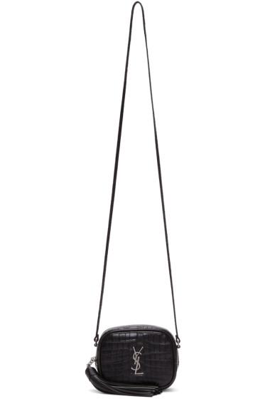 Saint Laurent - Black Croc-Embossed Mini Monogram Blogger Bag
