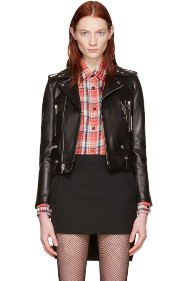 Saint Laurent - Black Leather Cassandre Motorcycle Jacket