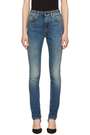Saint Laurent - Indigo High Waisted Skinny Jeans
