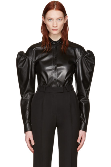 Saint Laurent - Black Leather Butterfly Shoulder Shirt