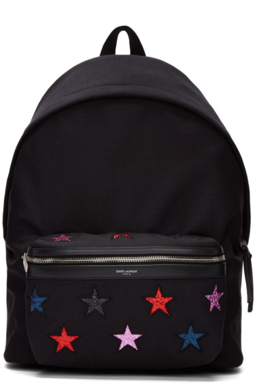 Saint Laurent - Black and Multicolor Canvas Stars Backpack