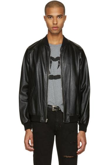 Saint Laurent - Black Leather Oversized Teddy Bomber Jacket