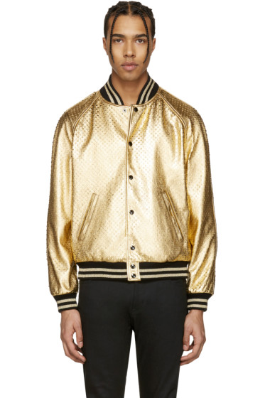 Saint Laurent - Gold Perforated Leather Bomber Jacket