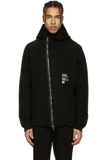 Julius - Black Asymmetric 'Dust' Zip-Up Hoodie