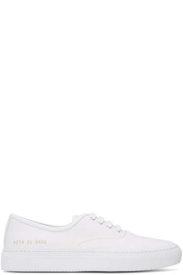 Woman by Common Projects - White Canvas Tournament Four Hole Sneakers