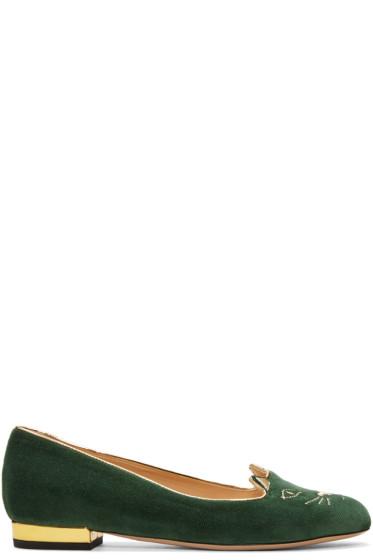 Charlotte Olympia - Green Velvet Kitty Flats