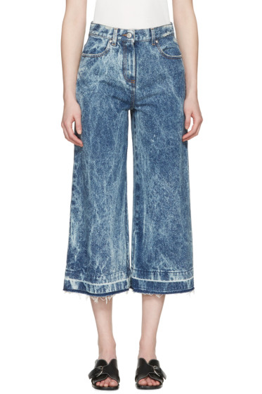 MSGM - Blue Marbled Denim Wide-Leg Jeans