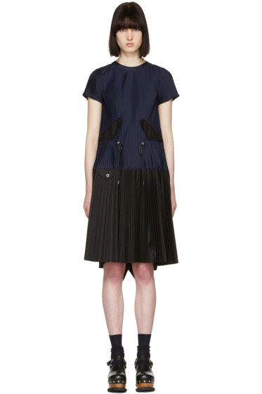 Sacai - Navy Pleated Toggle Dress